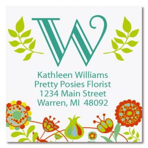 Cheery Florals Large Square Address Labels