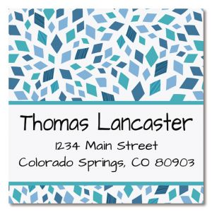 Mosaic Blue Large Square Address Labels
