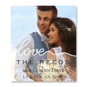 Love White Caption Select Photo Address Label