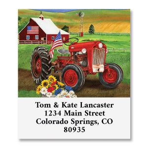 Patriotic Tractor Select Address Labels