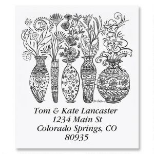 Black & White Decorative Vases Select Address Labels