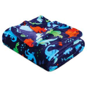 Navy Dinosaur Velvet Touch Throw