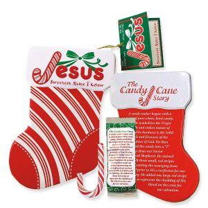 Mint Candy Cane Jesus Ornament Tin