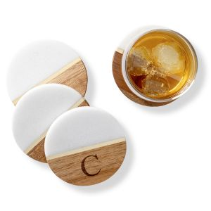 Marble & Acacia Personalized Coasters