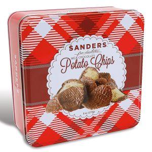 Milk Chocolate Covered Potato Chips Plaid Christmas Candy Tin