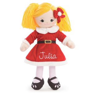 Personalized Blonde Rag Doll in Santa Dress