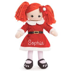 Personalized Red-Hair Rag Doll in Santa Dress