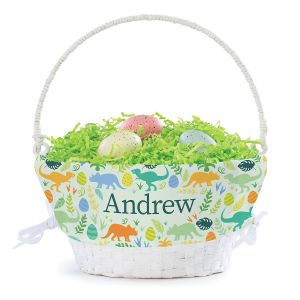 Personalized Dinosaur Easter Basket with Liner