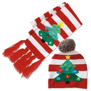 Lighted Christmas Tree Stocking Cap & Scarf