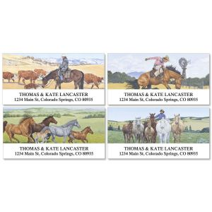 Cowboy Deluxe Address Labels  (4 designs)