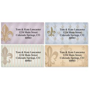 Bronze Fleur-de-Lis Border Address Labels  (4 designs)