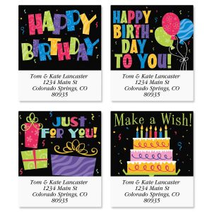 Bright on Black Select Address Labels  (4 Designs)