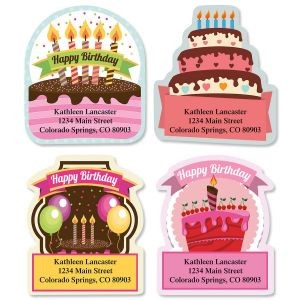Birthday Ribbon Diecut Address Labels  (4 Designs)