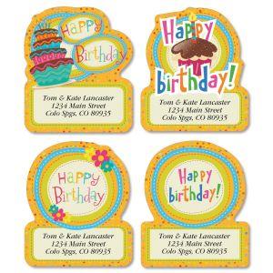 Sweet Birthday Diecut Address Labels  (4 Designs)
