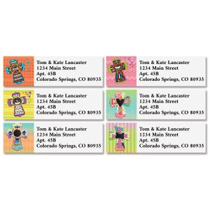 Colorful Crosses Classic Address Labels (4 Designs)