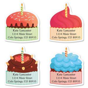 Birthday Cupcakes Diecut Address Labels (4 Designs)