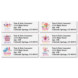 Birthday Wishes Classic Address Labels (6 Designs)