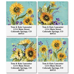 Watercolor Sunflower Select Address Labels (4 Designs)