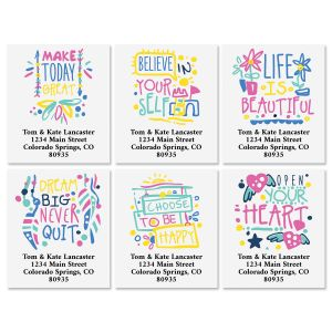 Positive Words Select Address Labels (6 Designs)