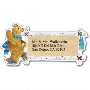 Bear Lodge Buddies Year-Round Diecut Address Labels  (12 Designs)