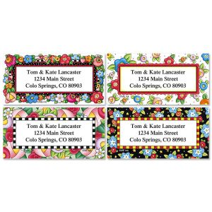 Mary's Bright Blossoms Border Address Labels  (4 designs)