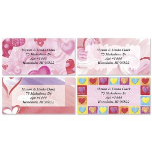 Romancing Hearts Border Address Labels  (4 Designs)