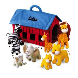 Personalized Plush Zoo Animals Play Set