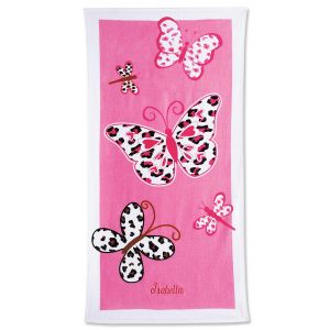 Personalized Leopard Butterflies Beach Towel