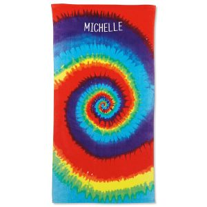 Personalized Tie-Dye Beach Towel