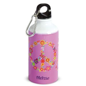 Personalized Floral Peace Kids' Water Bottle