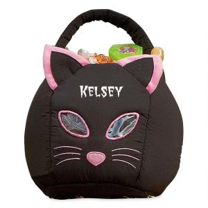 Black Cat Personalized Halloween Treat Basket
