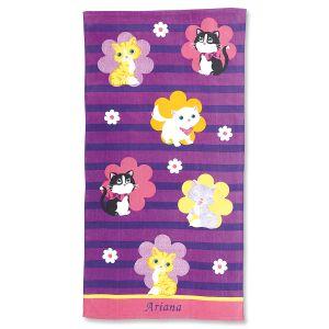 Personalized Kitten Cuties Beach Towel