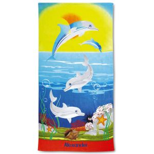 Personalized Dolphins Beach Towel