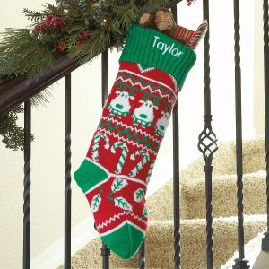 Reindeer Green Argyle Stocking