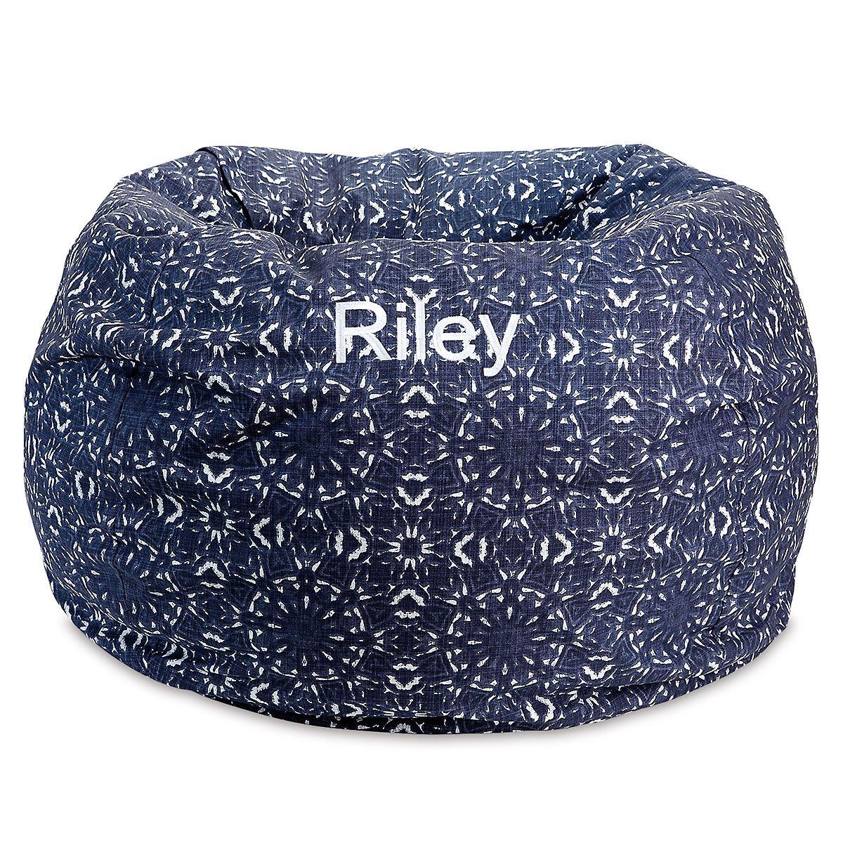 Personalized Blue Kaleidoscope Bean Bag Chair