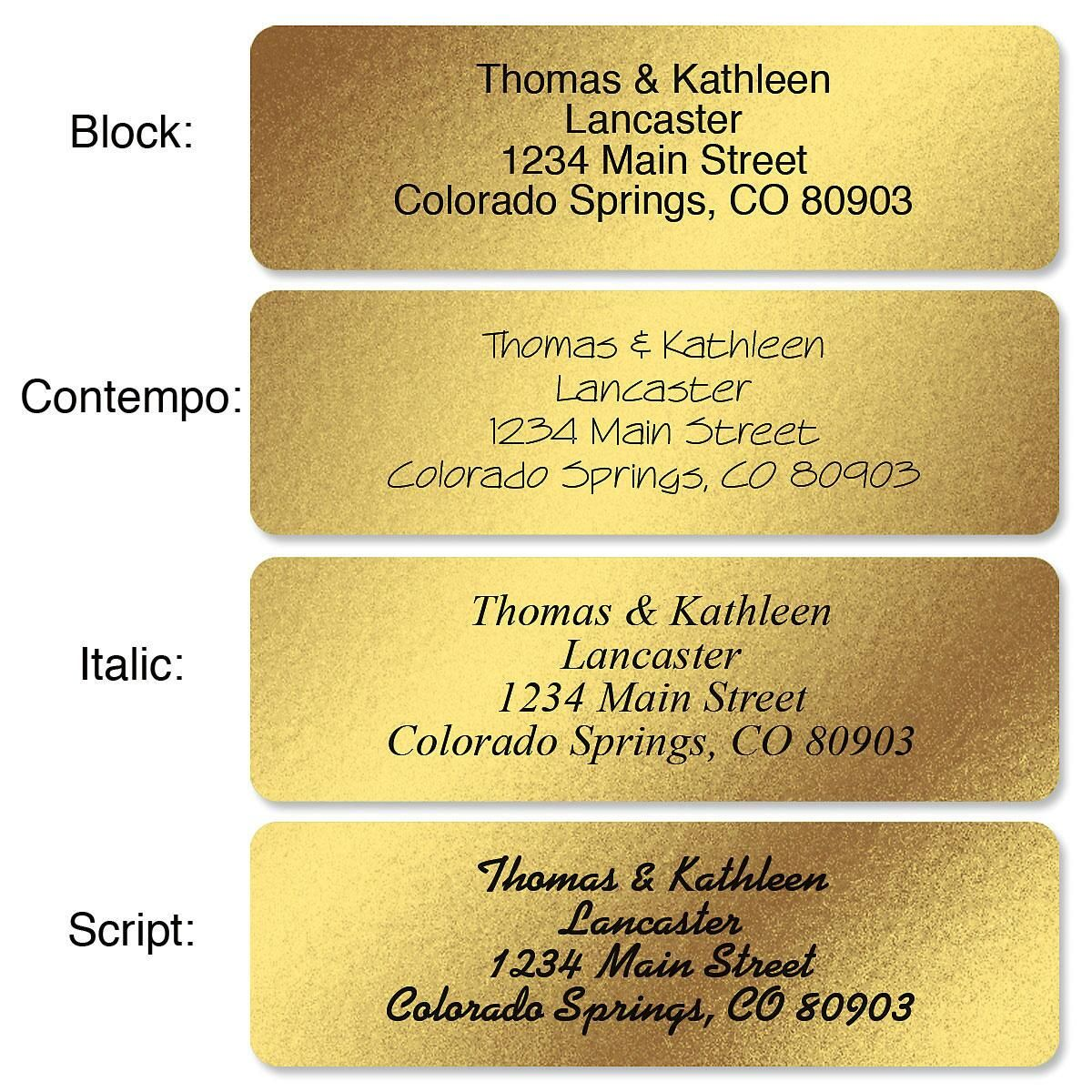 Gold Foil Standard Rolled Address Labels