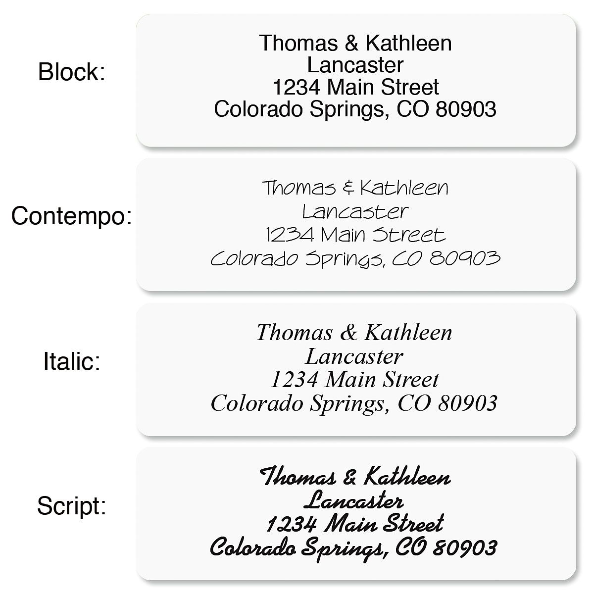 White with Initial Standard Rolled Address Labels