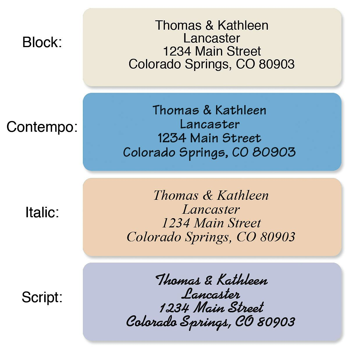 Stonewashed Colors Standard Rolled Address Labels  (5 Colors)