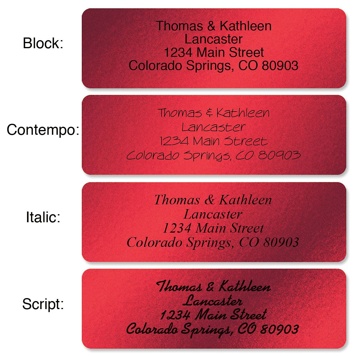Red Foil with Symbol Standard Rolled Address Labels