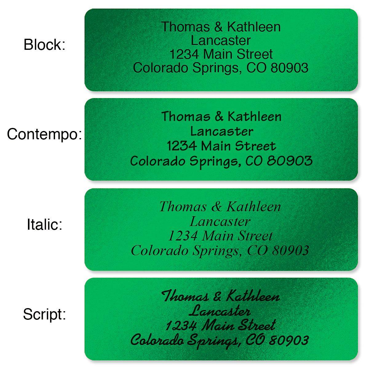 Green Foil Rolled Address Label