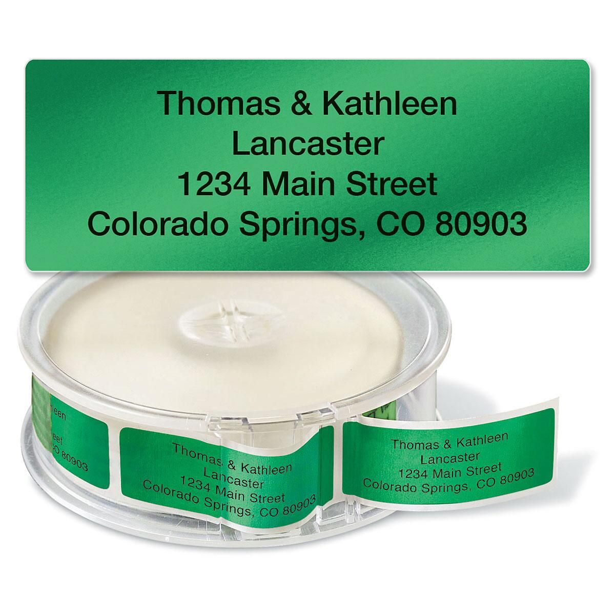 Green Foil Rolled Address Label