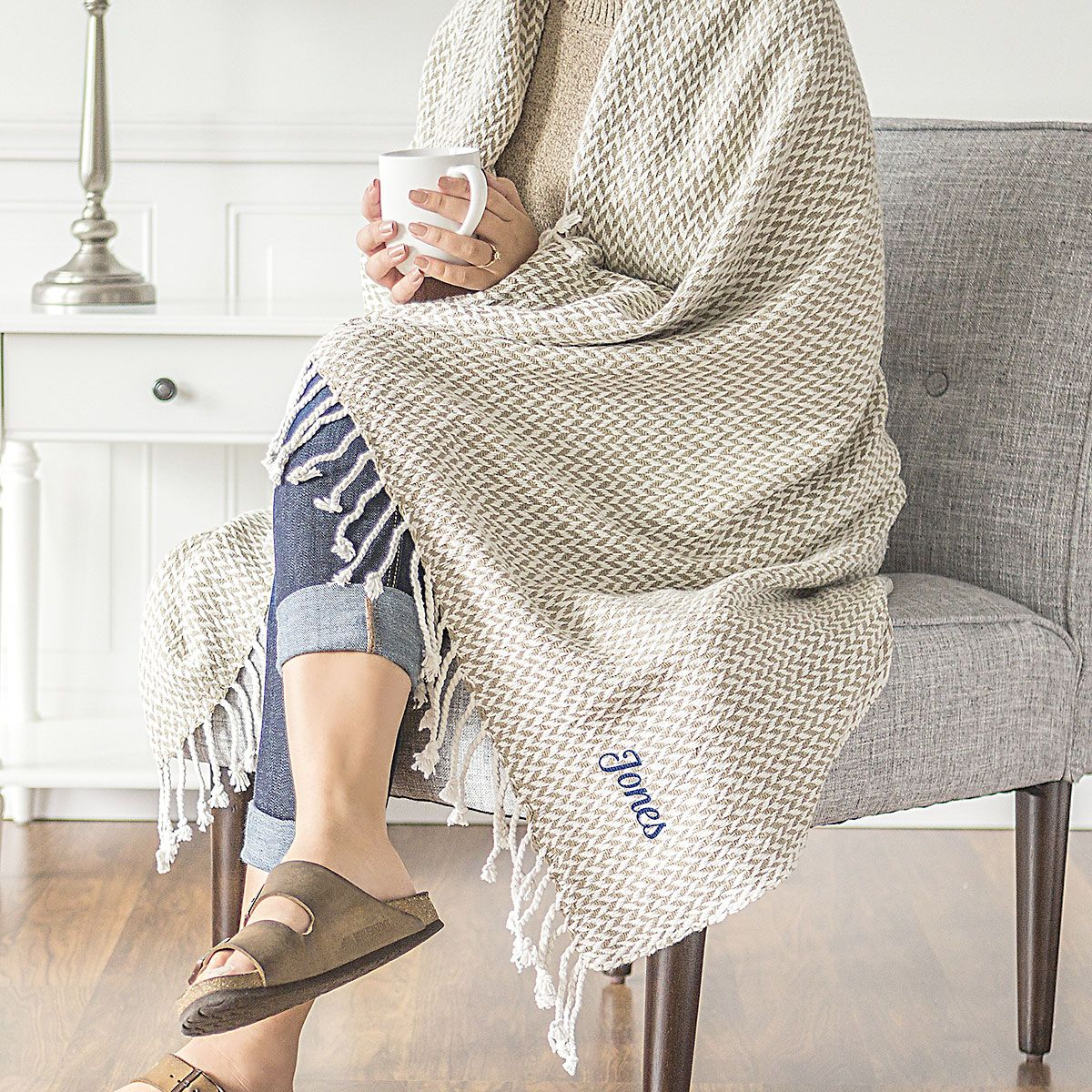 Taupe Herringbone Personalized Throw