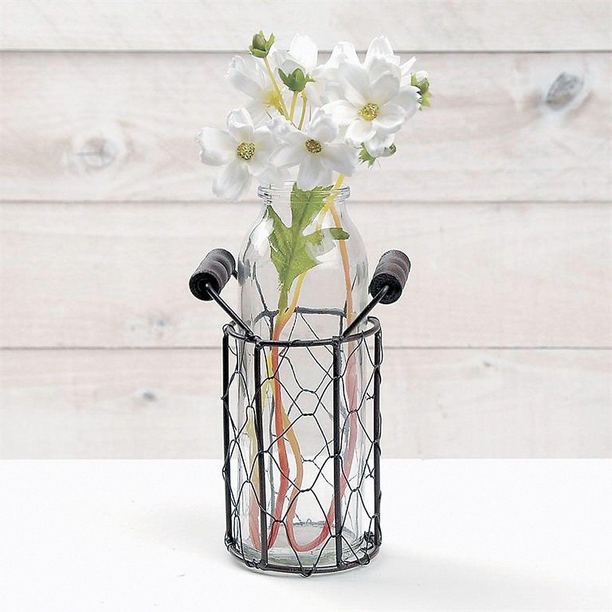 Vintage Vase in Metal Basket
