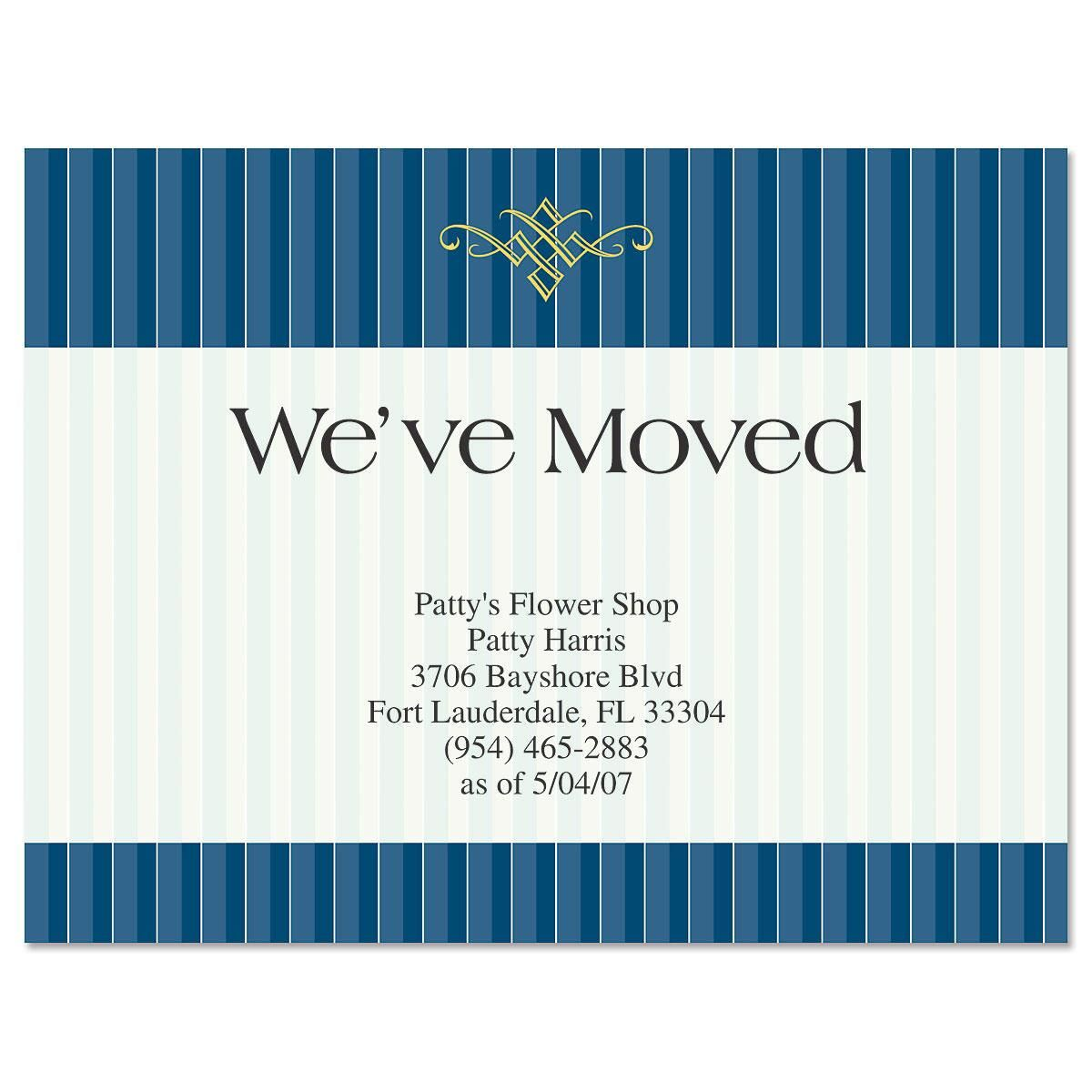 Navy Pinstripe New Address Postcards