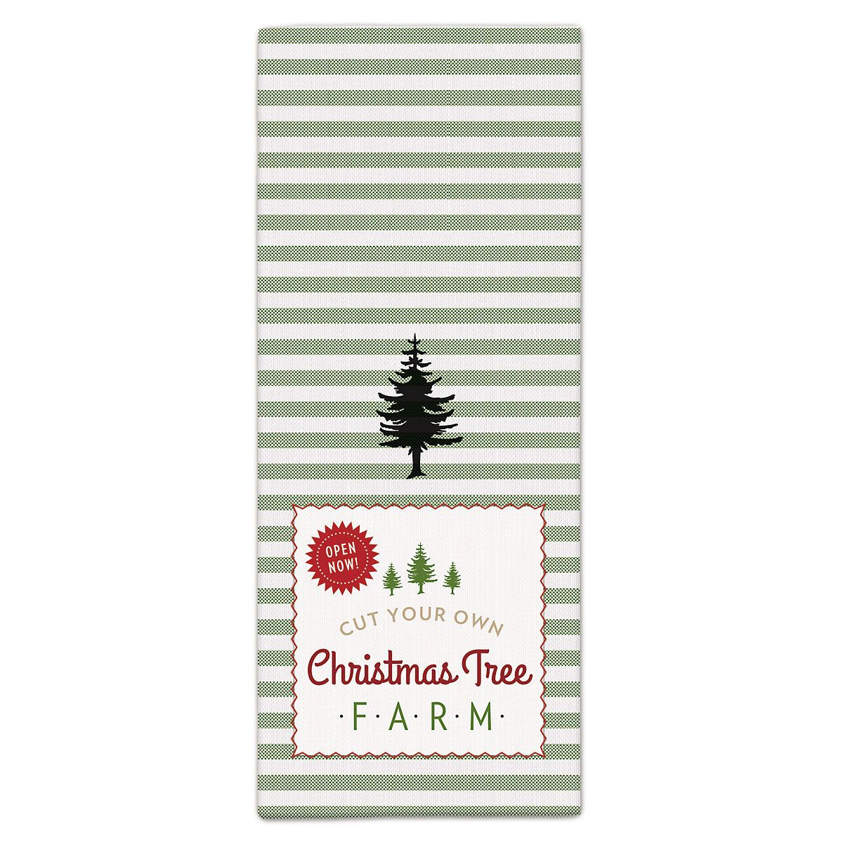 Tree Farm Retro Christmas Kitchen Towel