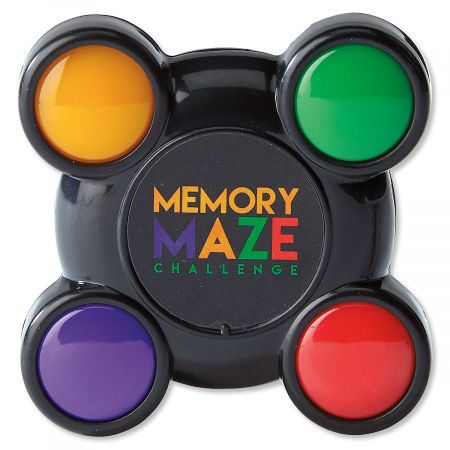 Maze Memory Game Follow the ever-increasing speed and sequence of flashing lights for game-master status. 2 1/2  x 2 1/2 . On/off switch, batteries included. Ages 6+.