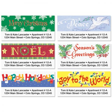 Holiday Greetings Deluxe Christmas Address Labels  (6 Designs)
