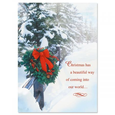 Holiday Wreath Personalized Christmas Cards - Set of 18