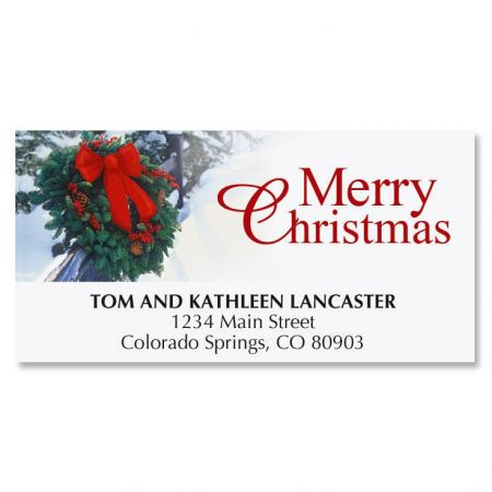 Holiday Wreath Christmas Deluxe Address Labels