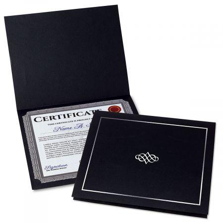Ornate Black Certificate Folder with Silver Border/Crest - Set of 50